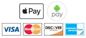 Apple Pay, Android Pay, Visa, Mastercard, American Empress, Discover